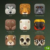 Animals muzzles icons — Stock Vector