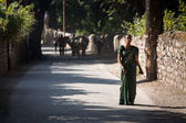 RISHIKESH, INDIA - JAN 01: An unidentified woman walking on the  — Stock Photo