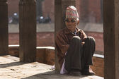 BHAKTAPUR, NEPAL - NOVEMBER 20: Portrait of unkown man staying a — Stock Photo