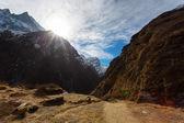 Machhapuchhare Base Camp im Himalaya-Gebirge, in der Nähe von Annapurn — Stockfoto