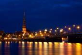 Riga Skyline at night — Stock Photo
