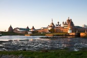 Solovetsky Monastery at sunset — Stock Photo