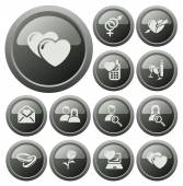 Love and dating buttons — Vector de stock