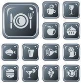 Botones de comida y bebida — Vector de stock