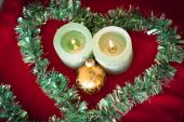Christmas candles in love — Foto Stock