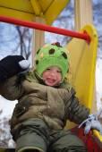Winter walk for baby — Stock Photo
