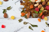 Mix of dried fruits and nuts — Stock Photo