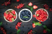 Bawls with different berries — Stock Photo
