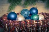 Christmas blue balls in the basket — Stock Photo