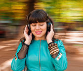 Fun with music headphones — Stock Photo