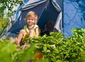 Boy about tent — Foto de Stock