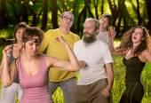 Yoga group doing dance — Stock Photo