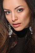 Model face, lips make-up, ear ring — Stock Photo