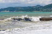 Storm surges and breakwater. — Stock Photo
