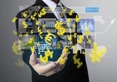 Touch Screen financial symbols — Stock Photo
