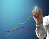 Man drawing a graph — Stock Photo