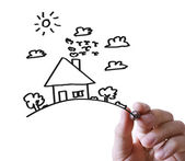 Hand drawing house in  whiteboard — Stock Photo