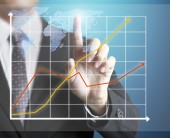 Man hand showing graph  — Stock Photo
