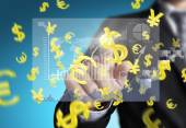 financial symbols coming from hand  — Stock Photo