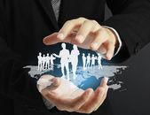 структура социальной сети в руке — Стоковое фото