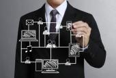 Business mann zeichnung sozialnetz — Stockfoto