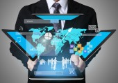 Businessman using tablet social connection  — Foto de Stock