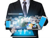 Businessman using tablet social connection  — Stockfoto