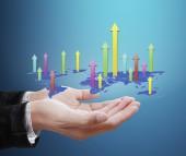 Simboli finanziari dello schermo di tocco — Foto Stock