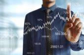 Businessman pressing high tech type of modern buttons on a virtu — Stock Photo