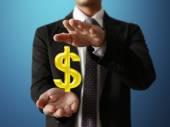 Biznesmen z symboli finansowych — Zdjęcie stockowe