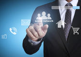 Hand pushing social network structure — Stock Photo