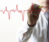 Man drawing chart heartbeat — Stock Photo