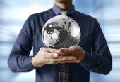 Globe in human hand. Earth image provided by Nasa  — Stock Photo