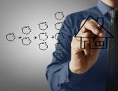 Businessman drawing house  — Stock Photo