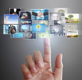 Hand reaching images streaming from the deep — Stock Photo