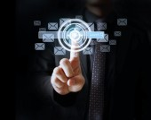 Businessman pressing virtual icons  — Stock Photo