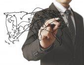 Business man tekening sociale netwerk — Stockfoto