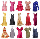 Large collection of stylish evening dresses women (isolated on w — Stock Photo
