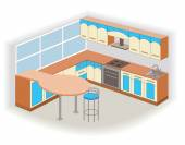Modern kitchen interior (vector illustration) — Stok Vektör