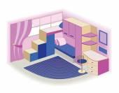 Moderne Kinder-Innenraum (Vektor-illustration) — Stockvektor