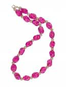 Pink necklace isolated on white background — Stock Photo