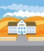 School building (vector illustration, flat concept) — Stock Vector