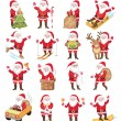 Set of christmas icons with Santa Claus — Stock Vector #62591133