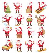Set of christmas icons with Santa Claus — ストックベクタ