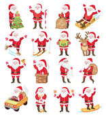 Set of christmas icons with Santa Claus — Stock Vector