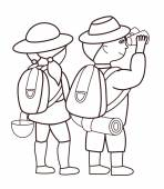 Tourists looking through binoculars (vector illustration) — ストックベクタ
