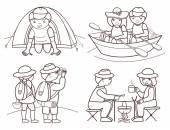 Tourists travel (vector illustration set) — Stock Vector
