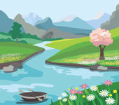 Beautiful spring landscape (vector illustration) — Stock Vector