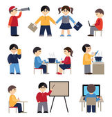 Icons set with people and students (flat conception, vector illu — Stock Vector