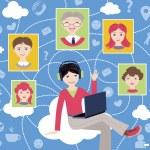 Social network (vector illustration, flat concept) — Stock Vector #74140371